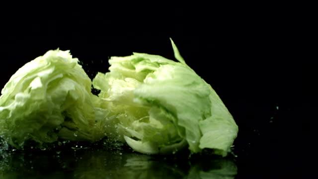 Head of lettuce splashing onto black reflective surface, slow motion video