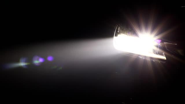 Headlight of modern car in night