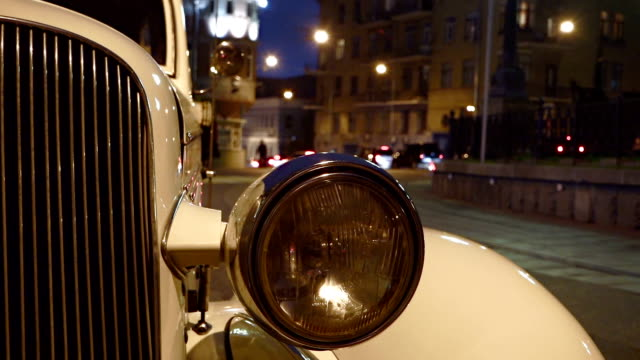 Headlight of white vintage car video