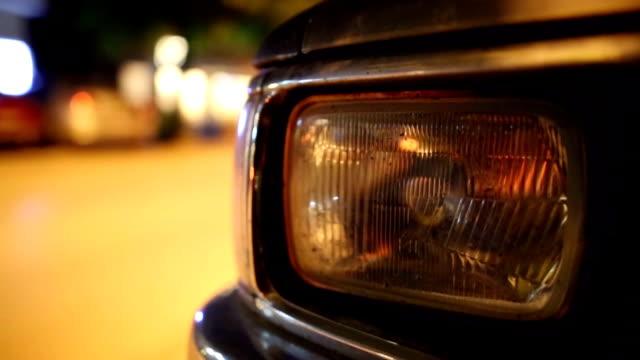 Headlight old car on the street video