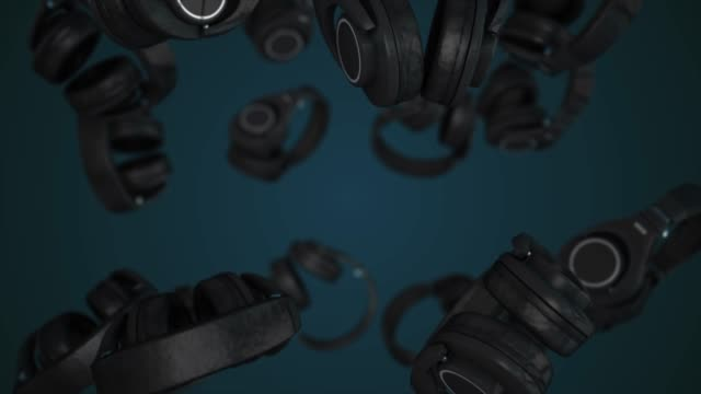 Headphones on an abstract background. Musical vibrations. DJ style. Headphones animation video