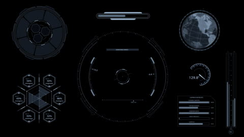 hud heads up display scanner canale alfa digitale target high tech - elemento del design video stock e b–roll