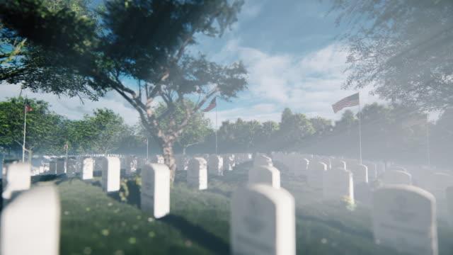 grabsteine, gräber und us-flaggen auf dem arlington national cemetery - mahnwachen stock-videos und b-roll-filmmaterial