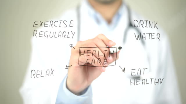 Health Care Concept, Doctor writing on transparent screen video