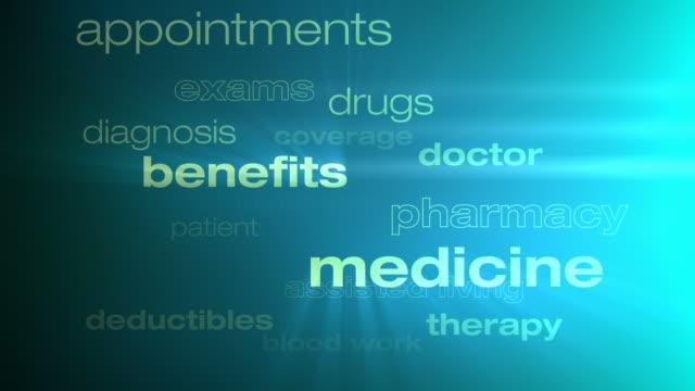 vídeos de stock e filmes b-roll de cuidados de saúde e de seguros palavras ciclo - benefits