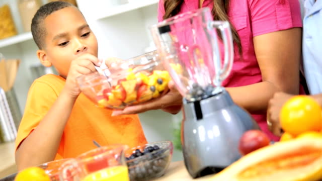 Healthy African American Family Blender Organic Fruit Drink video