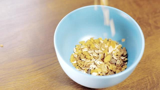 Healthy breakfast cereal and milk video