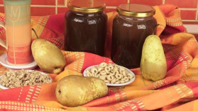 Healthy breakfast. Honey and fruit. Healthy food, diet, detox, clean eating. video