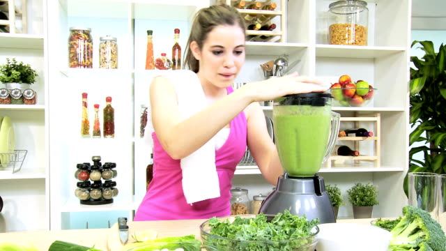 Healthy Caucasian Girl Fresh Fruit Smoothie Gym Session video