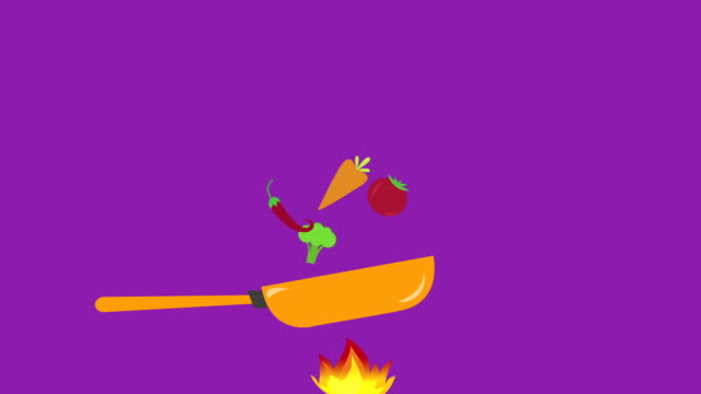 Healthy Food Concept, cocking vegetables with frying pan with space for text. video