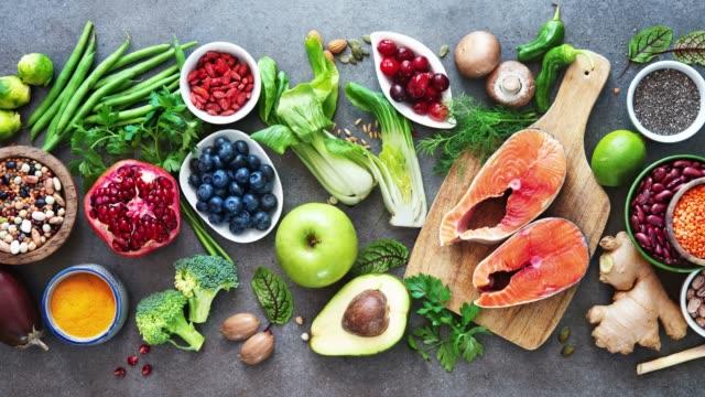 vídeos y material grabado en eventos de stock de selección de alimentos saludables - antioxidante