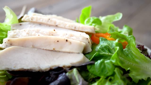 Healthy fresh green salad with boiled chicken breast