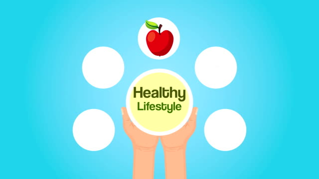 healthy life style lettering and set icons - balance graphics video stock e b–roll