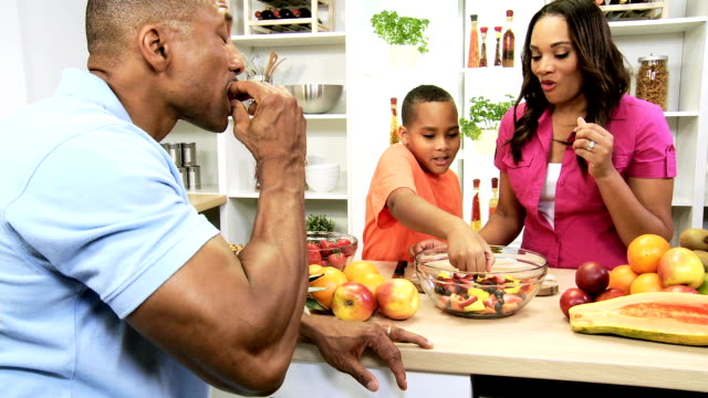 Healthy Lifestyle African American Family Fresh Fruit Salad