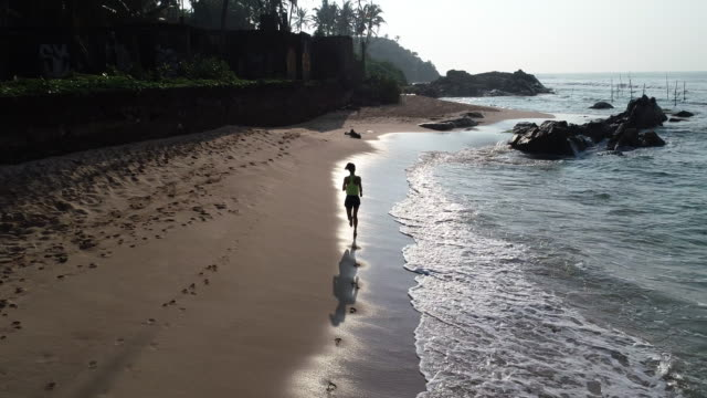 vídeos de stock e filmes b-roll de healthy lifestyle young woman running on tropical beach during sunrise in the morning - sri lanka