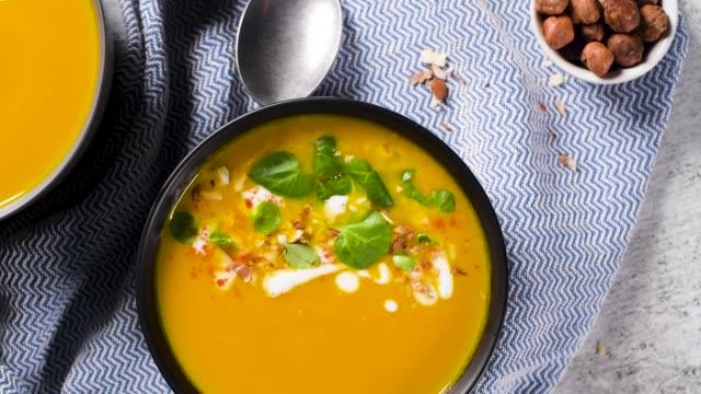 healthy pumpkin soup - pumpkin stock videos & royalty-free footage