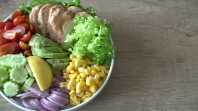 Healthy salad bowl with chicken breast Healthy salad bowl with chicken breast buddha stock videos & royalty-free footage
