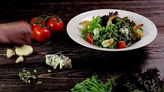 Healthy salad with shrimps. video