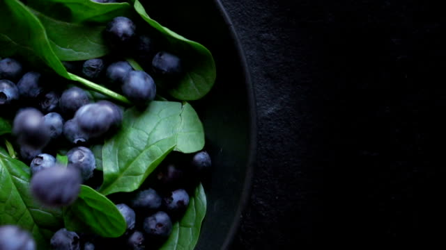 healthy spinach and blueberry - superfoods stock videos and b-roll footage