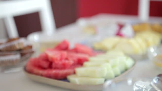 Healthy Tropical breakfast. Fresh Fruits and banana cake.