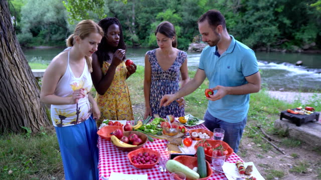 healthy vegan eating , picnic in nature - vegan stock videos and b-roll footage