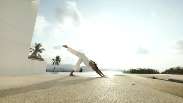 Healthy woman practicing yoga exercises on outdoor terrace with sea landscape video
