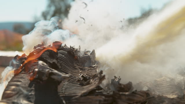 MACRO: Heap of cardboard burning in backyard is extinguished by white powder.
