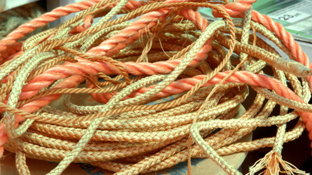 Heap of orange rope of different size video