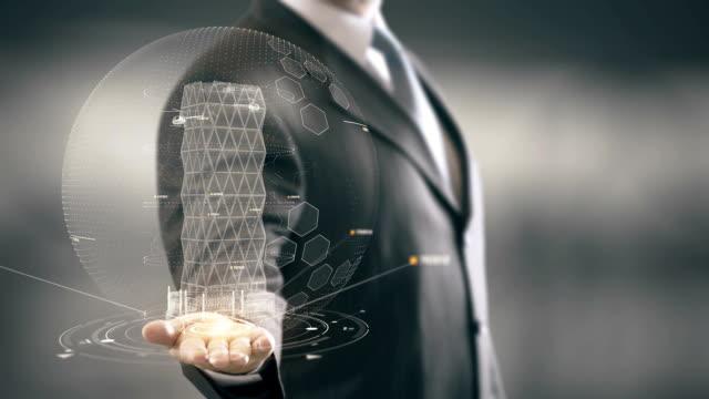 Hearst Tower Businessman holding in Hand Landmark New technologies
