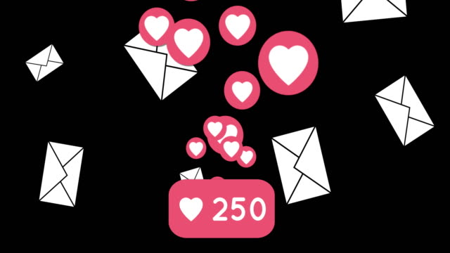 Heart and envelope icons flying on black background 4k