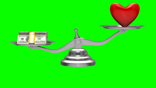 Heart and money on scales. Isolated 3D render. Green background