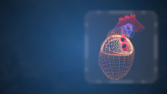 vídeos de stock e filmes b-roll de heart attack concept. abstract grid style heart pumping blood actively, rotating on dark space background with copyspace for text. - coração fraco