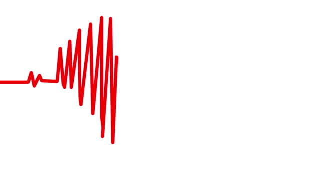 Heart Beat in shape of heart. Seamless loop blue background EKG electrocardiogram pulse real waveform. Health concept. 4k