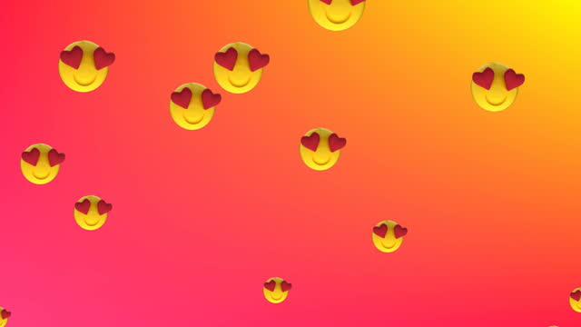 Heart eyes face emojis floating against red background