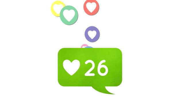 Heart icon and social media icons 4k