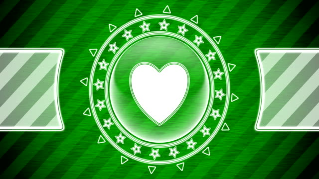 Heart icon in circle shape and green striped background. Illustration. Looping footage. website design stock videos & royalty-free footage