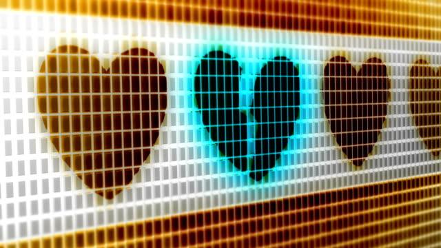 vídeos de stock e filmes b-roll de heart icon on the screen. 4k resolution. looping. - coração fraco
