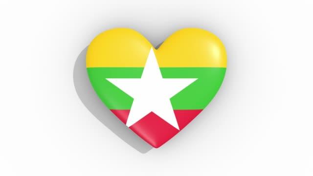 heart in colors flag of myanmar pulses, loop - naypyidaw video stock e b–roll