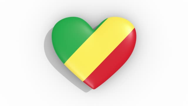 Heart in colors flag of Republic of the Congo pulses, loop. video