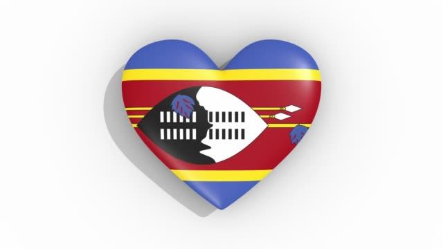 stockvideo's en b-roll-footage met heart in kleuren vlag van swaziland pulsen, lus - ridderlijkheid