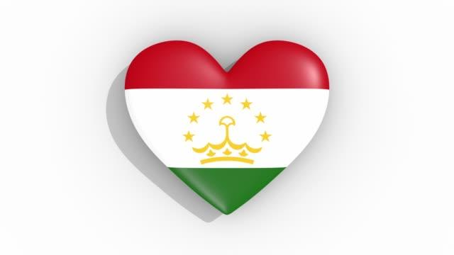 stockvideo's en b-roll-footage met heart in kleuren vlag van tadzjikistan pulsen, lus - ridderlijkheid