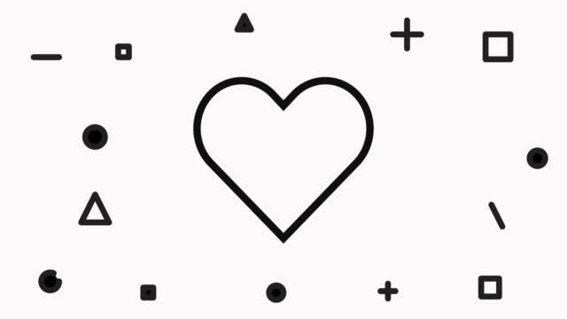vídeos de stock e filmes b-roll de heart line icon animation - coração fraco