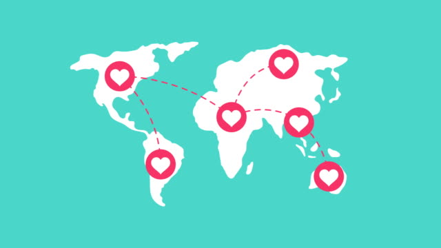 Heart love symbol connect pop up with world map on green background, looping animation 4K