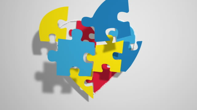 heart made of an animated puzzle, ideal for themes concerning the theme of autism heart made of an animated puzzle, ideal for themes concerning the theme of autism autism stock videos & royalty-free footage
