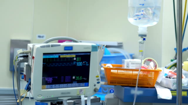 4K Heart Monitor In Operating Room. ECG Monitor Showing Heart Beat Rate Of Patient Background