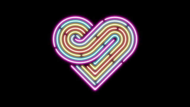 Heart neon dash line lighting moving pattern colorful, technology network digital data transfer, Valentine's Day concept design, glowing on black background seamless looping animation 4K with space video