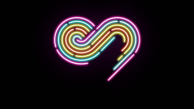 Heart neon dash line lighting moving pattern colorful, technology network digital data transfer, Valentine's Day concept design, glowing on black background animation 4K with copy space video