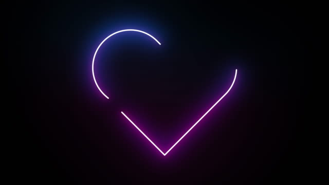 Heart neon line lighting moving pattern colorful, technology network digital data transfer, Valentine's Day concept design, glowing on black background seamless looping animation 4K with copy space video