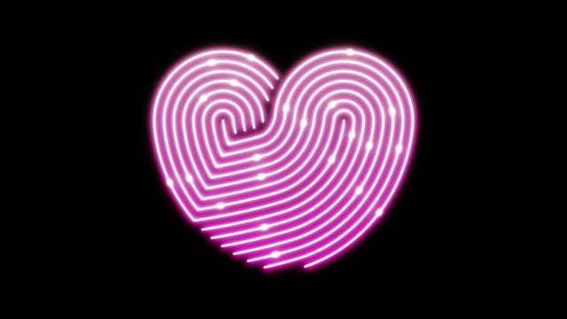 Heart neon line lighting moving pattern pink color, technology network digital data transfer, Valentine's Day concept design, glowing on black background seamless looping animation 4K with copy space video