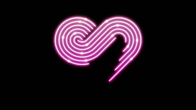 Heart neon line lighting moving pattern pink color, technology network digital data transfer, Valentine's Day concept design, glowing on black background animation 4K with copy space video